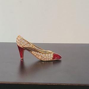Swarovski Signed Red Heel Shoe Pin